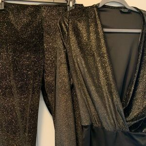 Zara black and gold body suit and pants set